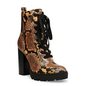 Steve Madden Latch Snakeskin Tie  High Heel Boot
